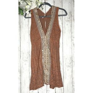 Juniors Free People Pink Knit W/ Sequins Sz S